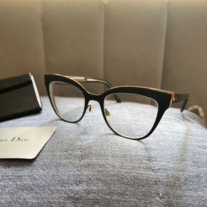 Dior Black and Gold Tone Metal Frame Eyeglasses